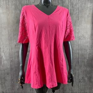Denim & Co. Fit and Flare Pink Lace Raglan Blouse